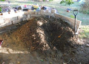 the freshly turned compost pile
