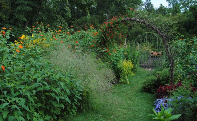 chanticleer arch and vegetable garden