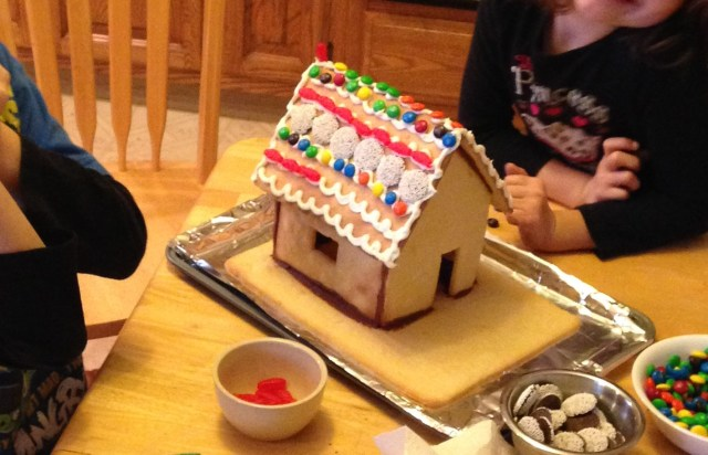 decorating the cookie house