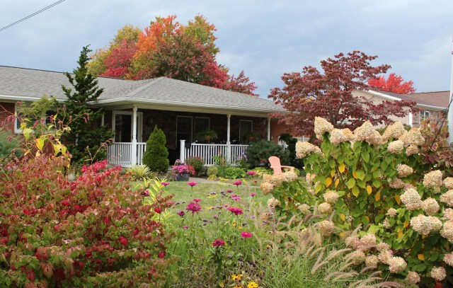 front of the house in fall