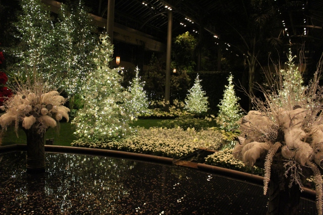 Longwood gardens decorated for Christmas greenhouses at night