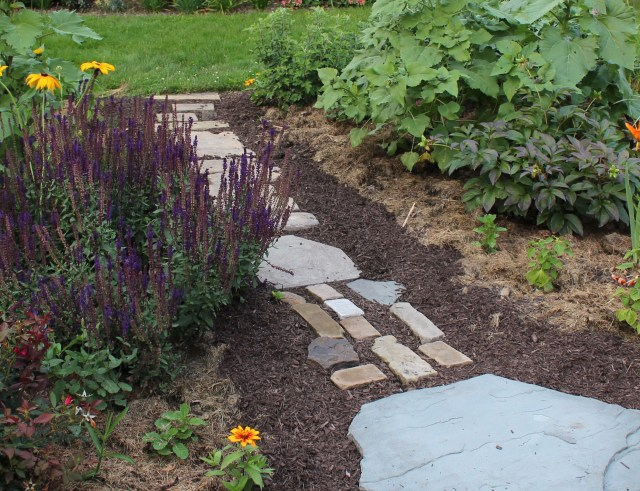 mulch and paver pathway